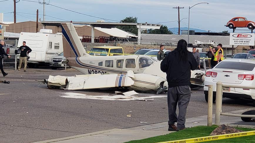 Small plane lands on street near Deer Valley Airport