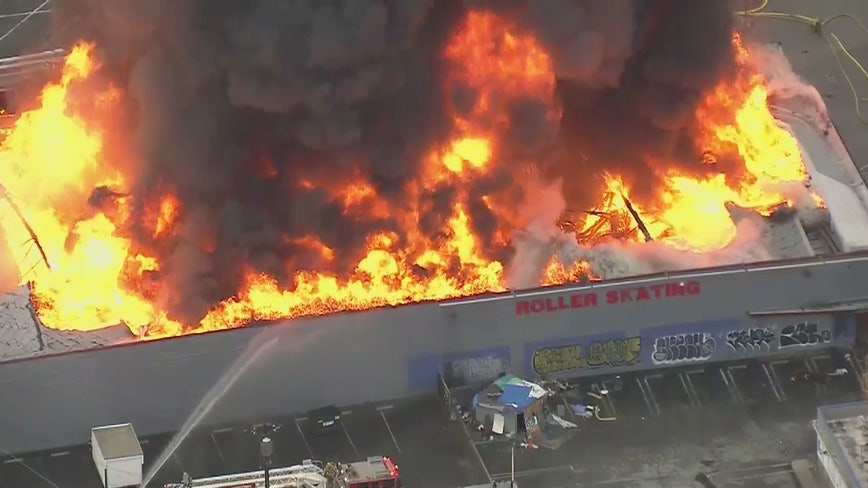 Massive flames erupt in commercial building fire in San Bernardino