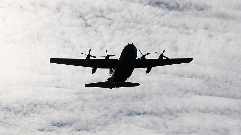 A file image shows a C-130 flyover on Nov. 2, 2019 in College Station, Texas. (Photo by Bob Levey/Getty Images)