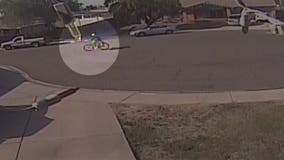 Person on bike steals wheelchair from another person's driveway