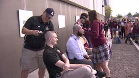 Students shave heads in solidarity with friend who's battling cancer