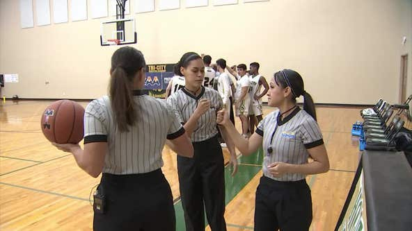 High school boy's basketball game featured all-female referee team