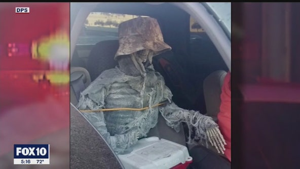 DPS cites driver accused of passing off skeleton as a passenger while driving in the HOV lane