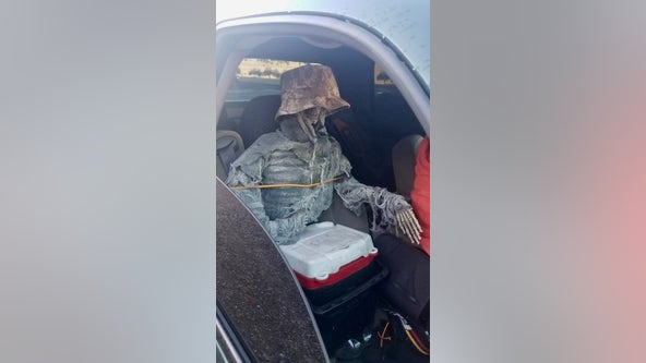 Nice try: DPS cites driver accused of passing off skeleton as a passenger while driving in the HOV lane
