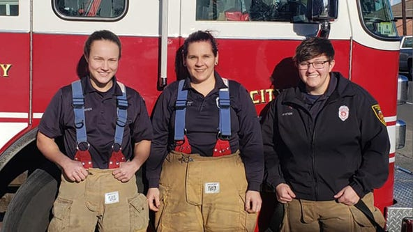 All-female fire engine crew hopes to inspire young girls to take up firefighting