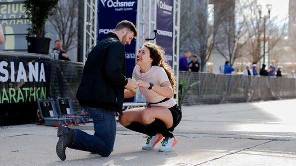 Louisiana marathon runner reacts to surprise engagement at finish line: 'Best. Day. Ever'