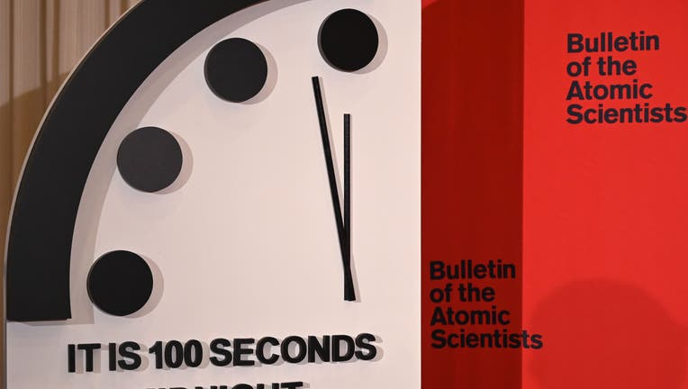 The Doomsday Clock reads 100 seconds to midnight, a decision made by The Bulletin of Atomic Scientists, during an announcement at the National Press Club in Washington, DC on January 23, 2020. (Photo by EVA HAMBACH/AFP via Getty Images)