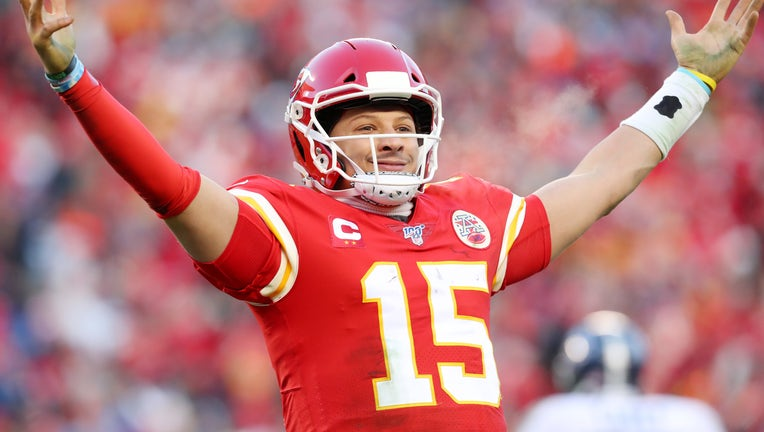 KANSAS CITY, MISSOURI - JANUARY 19: Patrick Mahomes #15 of the Kansas City Chiefs reacts after a fourth quarter touchdown pass against the Tennessee Titans in the AFC Championship Game at Arrowhead Stadium on January 19, 2020 in Kansas City, Missouri. (Photo by Tom Pennington/Getty Images)