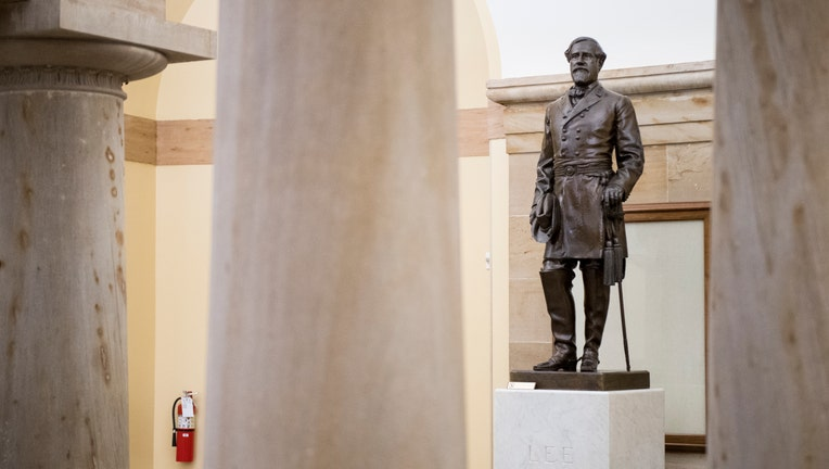 UNITED STATES - JUNE 11: A statue of Robert E. Lee stands in the Crypt are of the U.S. Capitol on Tuesday, June 11, 2019. (Photo By Bill Clark/CQ Roll Call)