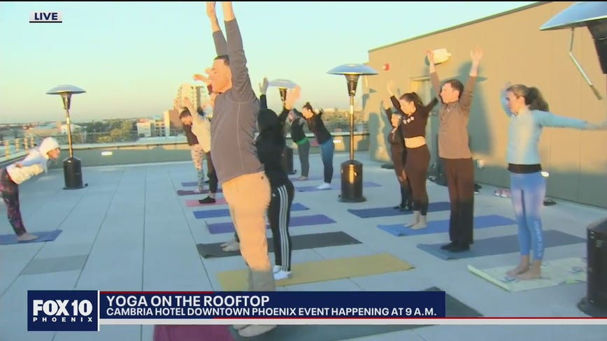 Yoga on the Cambria Hotel's rooftop