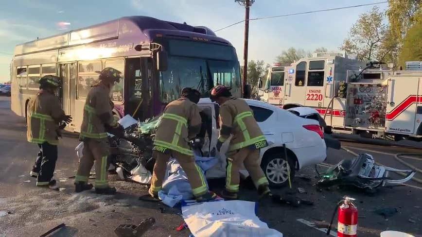 Mesa Fire: Several people taken to hospital following crash involving Valley Metro bus