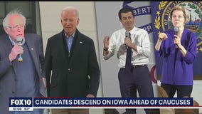 Democratic presidential candidates descend on Iowa ahead of caucuses