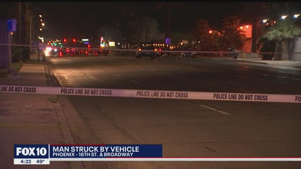 Man seriously injured after being struck by car in south Phoenix