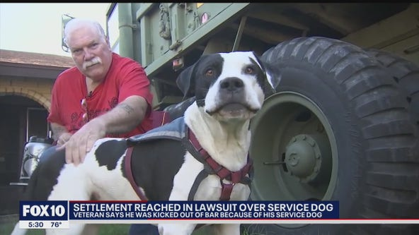 Settlement reached after veteran says he was kicked out of bar because of his service dog