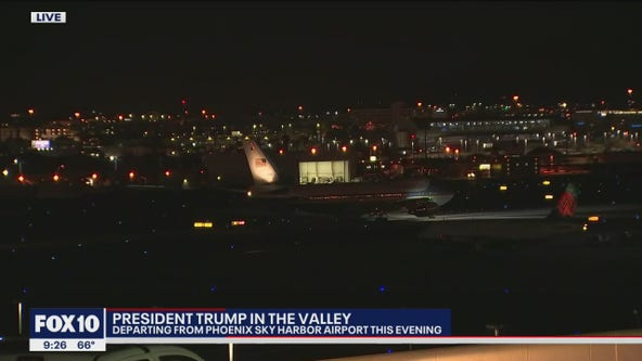 President Trump departs Sky Harbor Airport after campaign rally