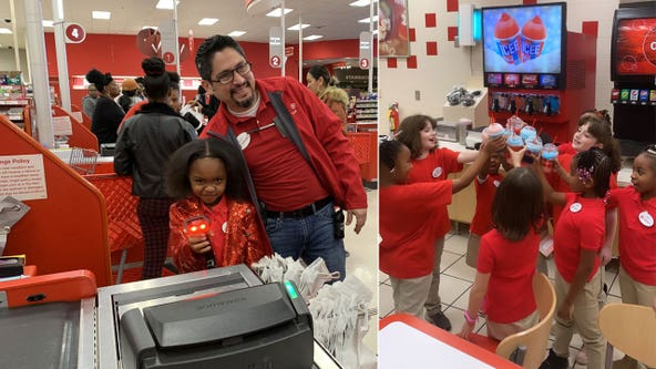 Atlanta girl, 8, hosts Target-themed birthday party at local store, complete with uniforms