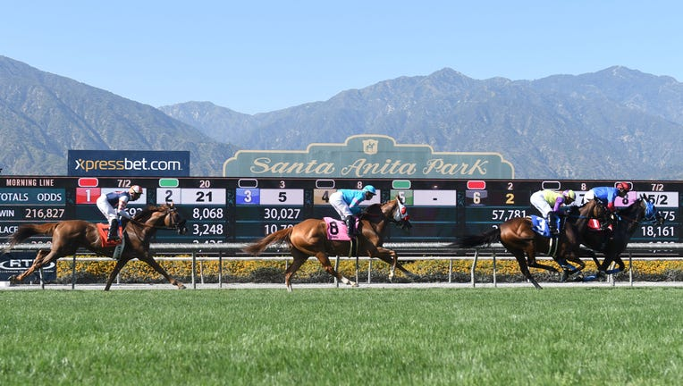 ARCADIA, CA - JUNE 23: Horses on the turf track for the San Juan Capistrano Stakes on the last day of the Winter-Spring Meet on June 23, 2019, at Santa Anita Park in Arcadia, CA.(Photo by Cynthia Lum/Icon Sportswire via Getty Images)