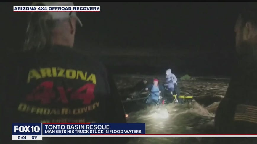 Crews perform dramatic rescue of a man and his truck stuck in Tonto Basin flood waters