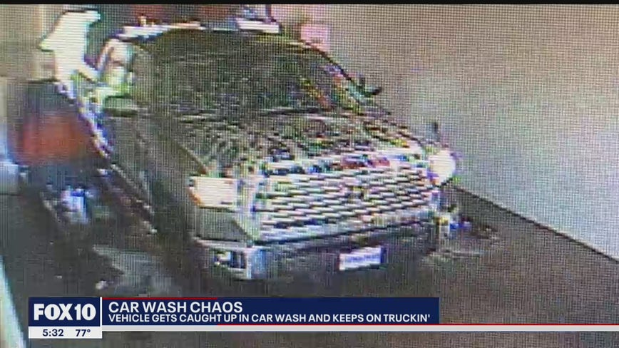 Business owner claims his car wash damaged by a customer who took off