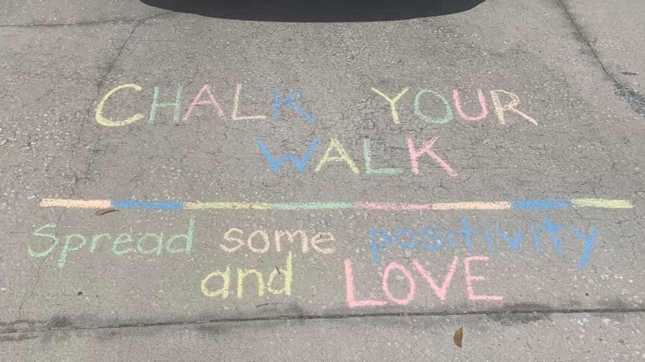 People take to sidewalks with colorful chalk to share messages of ...