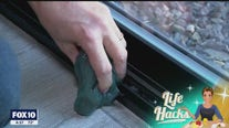 Life Hacks: Use children's slime to clean the tracks of a sliding glass door
