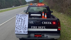Fire department hands out free meals for truck drivers in Arkansas