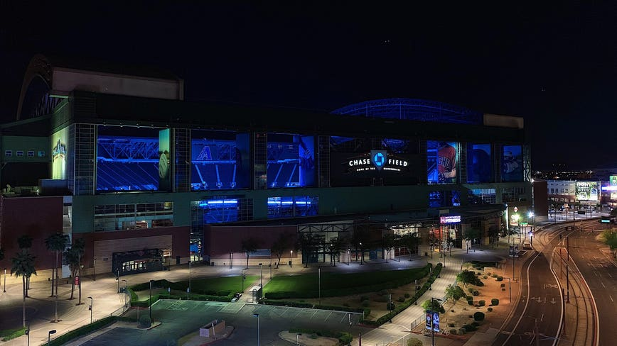 Chase Field lit in blue in honor of front line medical professionals