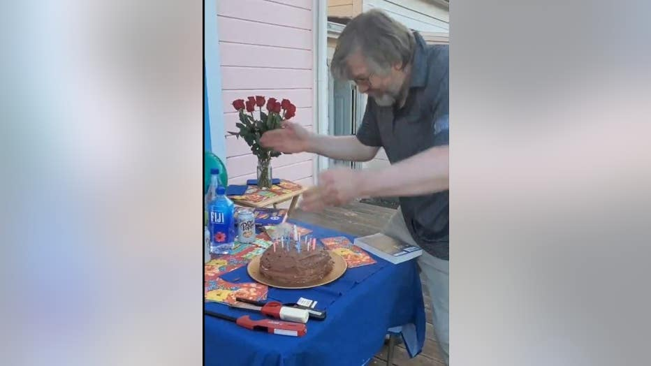 Dad Blows Out Candles With Hands In Coronavirus Pandemic Modified Birthday Celebration