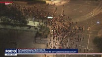 Protesters continue to march around downtown Phoenix