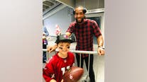 Larry Fitzgerald surprises boy on final day of cancer treatment