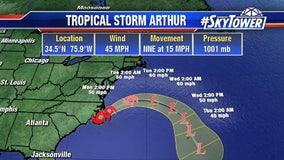 Tropical Storm Arthur hits North Carolina coast with rain
