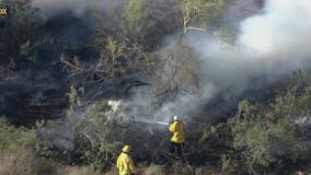 Phoenix, Scottsdale firefighters battle brush fire near neighborhood