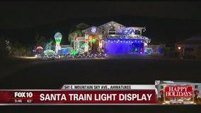 Santa train light display in Ahwatukee