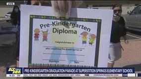 Pre-K graduation parade at Valley elementary school