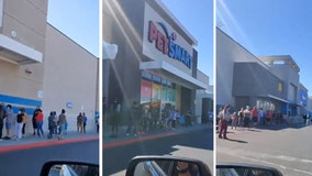 Long line of shoppers wait outside reopened Ross store in Las Vegas