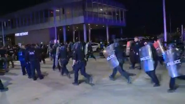 Detroit police officer injured, DPD cars damaged as protesters clash downtown