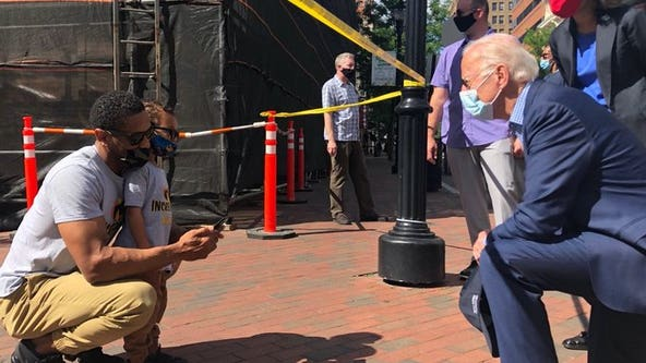 Joe Biden shares picture of himself kneeling with demonstrator at George Floyd protest