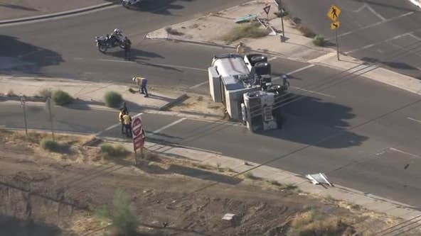 FD: Hazmat crews respond to semi-truck rollover, natural gas leak in Phoenix