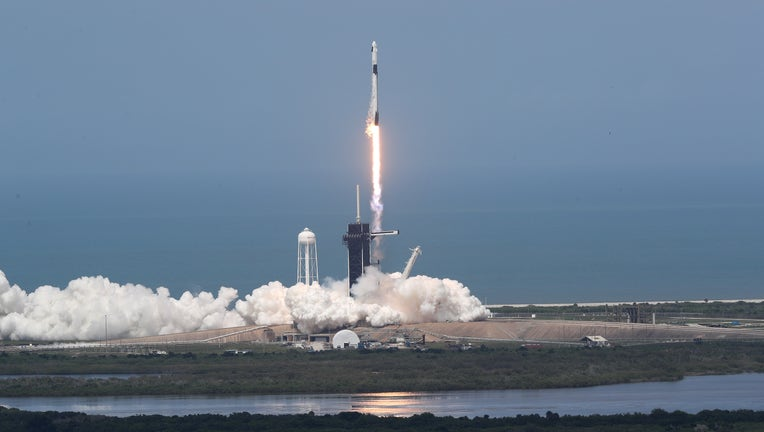 2feb6c4f-SpaceX Falcon-9 Rocket And Crew Dragon Capsule Launches From Cape Canaveral Sending Astronauts To The International Space Station
