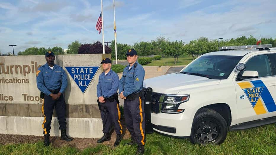 "Troopers Robert Murray, Pierre Noel, and Marcin Ziobron, of Troop ""D"" Cranbury Station,"
