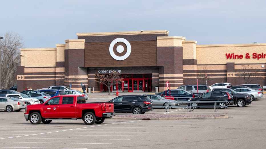 People stocking up at a Target store before the nation shuts down due to the coronavirus, Vadnais Heights, Minnesota.
