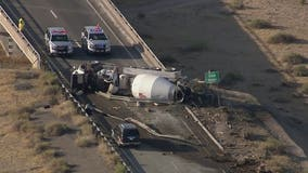 Eastbound I-10 closed near Riggs Road due to cement truck rollover crash