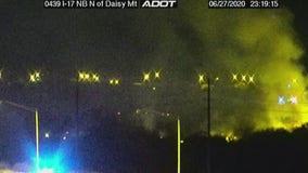 Crews battle overnight brush fire near the I-17