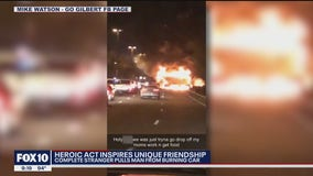 The quick thinking of a stranger helps save man involved in fiery crash
