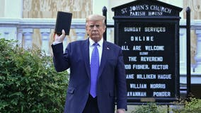 Tear gas, threats before President Trump visits church amid protests