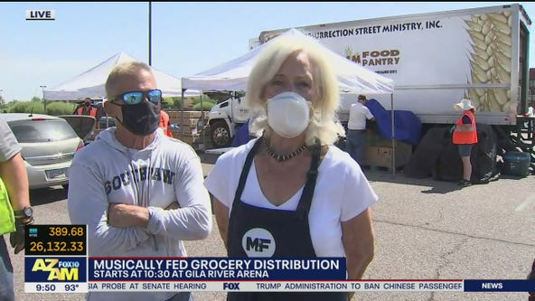 Musically Fed grocery distribution happening at Gila River Arena