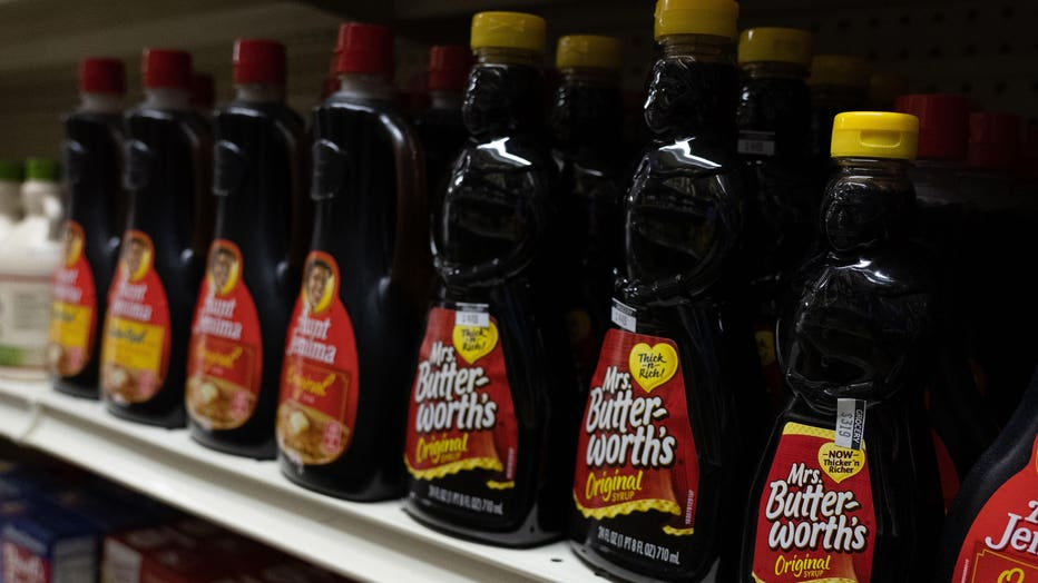 Mrs. Butterworths products seen displayed on supermarket