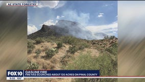 Gasline Fire burns about 120 acres in Pinal County