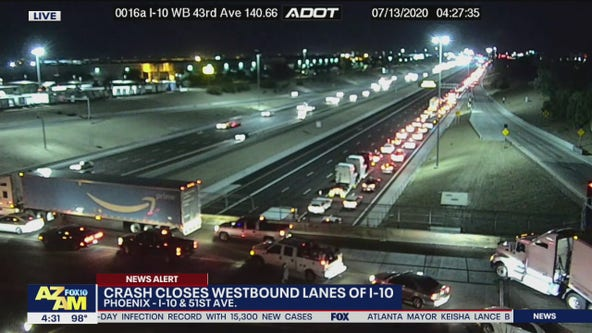 Serious crash closes westbound I-10 at 51st Avenue