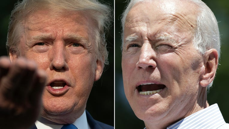 (COMBO) This combination of pictures created on June 11, 2019 shows US President Donald Trump(L) as he departs the White House, in Washington, DC, on June 2, 2019, and former US vice president Joe Biden during the kick off his presidential election campaign in Philadelphia, Pennsylvania, on May 18, 2019. - Donald Trump and his leading Democratic challenger Joe Biden were to deliver dueling speeches on June 11, 2019 across the important 2020 battleground state of Iowa in a foretaste of what promises to be a bad tempered and volatile presidential election. Biden, 76, called his presence in the midwestern state on the same day as Trump, 72, a coincidence. But his speech will aim at the core of the Republican president's narrative, branding Trump